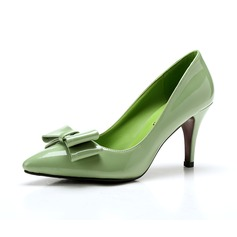 Women's Patent Leather Stiletto Heel Pumps Closed Toe With Bowknot shoes (085094476)