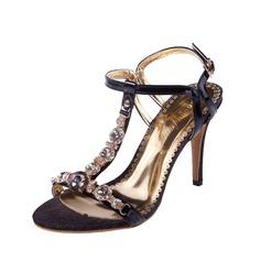 Женщины кожа Высокий тонкий каблук Сандалии Босоножки с горный хрусталь обувь (087085020)