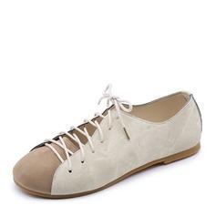 Женщины Холст Плоский каблук На плокой подошве Закрытый мыс с Шнуровка обувь (086164474)