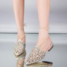 Mulheres Couro Salto baixo Sandálias Beach Wedding Shoes com Aplicação de renda (047125445)
