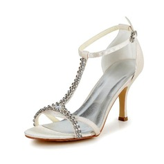 Kvinder Satineret Stiletto Hæl Pumps sandaler med Spænde Rhinsten (047040212)
