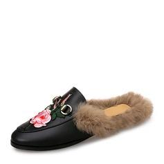 Женщины кожа Плоский каблук На плокой подошве Босоножки с пряжка мех обувь (086154824)