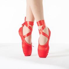Женщины Атлас На плокой подошве Обувь Пуанты с Шнуровка Обувь для танцев (053103988)