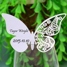 Vlinder ontwerp Parel Papier Plaatskaarten (set van 12) (131037410)
