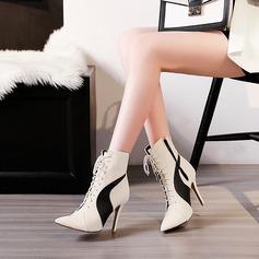 Женщины PU Высокий тонкий каблук На каблуках Ботинки с Шнуровка Соединение врасщеп обувь (088137503)