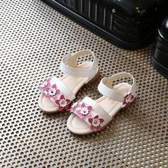 девичий Открытый мыс дерматин Плоский каблук Сандалии На плокой подошве Обувь для девочек с На липучке Цветок (207167094)