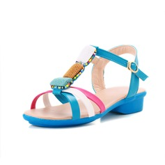Konstläder Flat Heel Sandaler Slingbacks med Pärlbrodering skor (087049390)