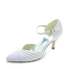 Женщины Атлас Круглый зауженный каблук На каблуках с пряжка Рябь (047011842)