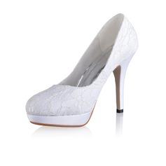 Vrouwen zijde als satijn Cone Heel Closed Toe Plateau Pumps met Stitching Lace (047026742)