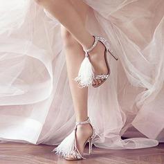 Женщины Замша Высокий тонкий каблук На каблуках Сандалии с кисточкой (047107246)