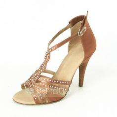 Mulheres Cetim Saltos Sandálias Latino com Strass Sapatos de dança (053016448)