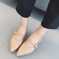 Женщины PU Плоский каблук На плокой подошве Закрытый мыс с пряжка обувь (086134740)