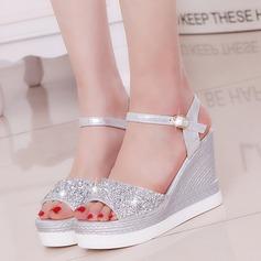 Femmes PU Talon compensé Sandales Escarpins Plateforme Compensée avec Strass chaussures (087127469)