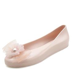 Kvinner PVC Flate sko Lukket Tå med Blomst sko (086165238)
