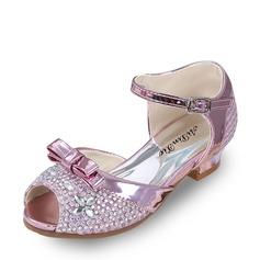 Jentas Titte Tå Leather lav Heel Sandaler Pumps Flower Girl Shoes med Bowknot Spenne Rhinestone (207126984)