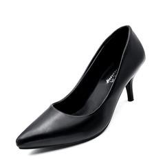 Женщины кожа Высокий тонкий каблук На каблуках Закрытый мыс обувь (085150504)