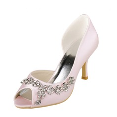 Women's Satin Stiletto Heel Peep Toe Sandals With Rhinestone (047089207)