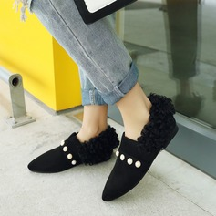 Women's Suede Flat Heel Flats Closed Toe With Imitation Pearl shoes (086145723)