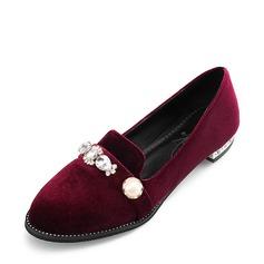 Женщины Замша Плоский каблук На плокой подошве Закрытый мыс с Имитация Перл обувь (086153757)
