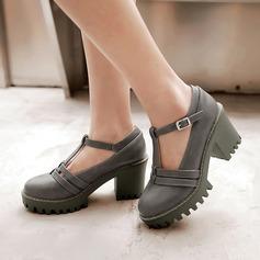 Женщины кожа Устойчивый каблук Mary Jane с пряжка обувь (085114544)