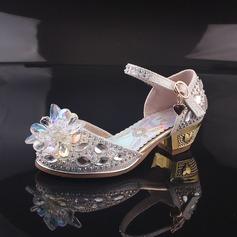 Girl's Closed Toe imitatieleer low Heel Pumps Bloemenmeisje schoenen met Kralen Gesp Strass (207150958)