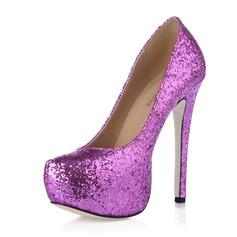 Vrouwen Sprankelende Glitter Stiletto Heel Pumps Plateau Closed Toe schoenen (085016462)