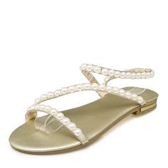 Женщины кожа Плоский каблук Сандалии На плокой подошве с Имитация Перл обувь (087157111)