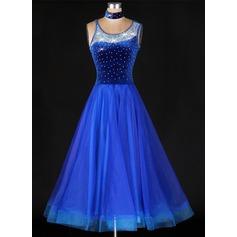 Женщины Одежда для танцев Органза Латино Платья (115091485)