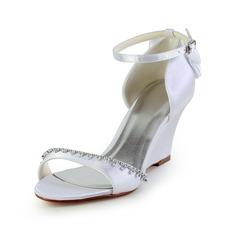 Vrouwen Satijn Wedge Heel Sandalen Wedges met Strik Strass (085026904)