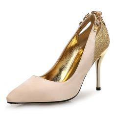 Женщины Шелковые Высокий тонкий каблук На каблуках с Цепь Соединение врасщеп обувь (085105811)