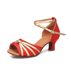Женщины Атлас На каблуках Сандалии Латино с Ремешок на щиколотке Обувь для танцев (053052427)