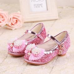 Girl's Closed Toe imitatieleer low Heel Pumps Bloemenmeisje schoenen met Kralen strik Lovertje Velcro (207150955)