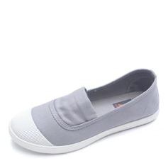 Женщины Холст Плоский каблук На плокой подошве Закрытый мыс обувь (086164487)