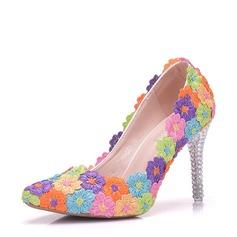 Женщины кожа Высокий тонкий каблук Закрытый мыс На каблуках с Цветок Каблуки с кристаллами (047149260)