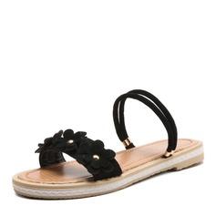 Женщины Кожа из микроволокна Плоский каблук Сандалии На плокой подошве с Цветок обувь (087157105)
