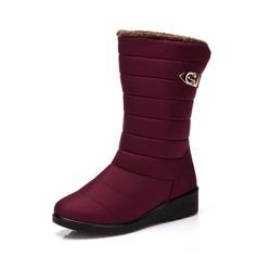 Femmes Tissu Talon plat Chaussures plates Bottes Bottes mi-mollets Bottes neige chaussures (088187958)