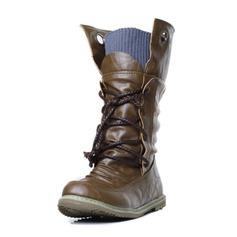 Vrouwen Kunstleer Flat Heel Closed Toe Half-Kuit Laarzen met Gevlochten Riempje schoenen (088095972)