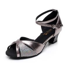 Женщины кожа На каблуках Сандалии Латино с Ремешок на щиколотке Обувь для танцев (053066624)
