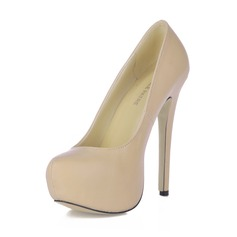 Women's Leatherette Stiletto Heel Pumps Platform Closed Toe shoes (085020557)