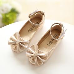 Fille de Bout fermé similicuir talon plat Chaussures plates Chaussures de fille de fleur avec Bowknot Strass (207101547)