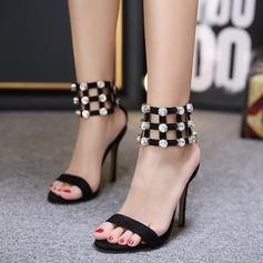 Женщины Замша Высокий тонкий каблук Сандалии На каблуках Mary Jane с горный хрусталь В дырочку обувь (085127514)