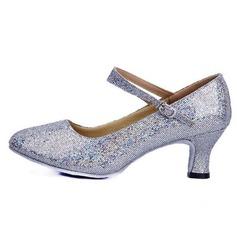 Женщины кожа Мерцающая отделка На каблуках На каблуках Обувь для Персонала Обувь для танцев (053065749)