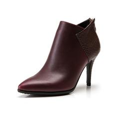 Женщины кожа Высокий тонкий каблук Платформа Полусапоги с Соединение врасщеп обувь (088098053)