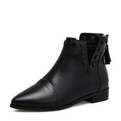 Женщины PU Низкий каблук Ботинки Полусапоги с заклепки Застежка-молния кисточкой обувь (088142501)