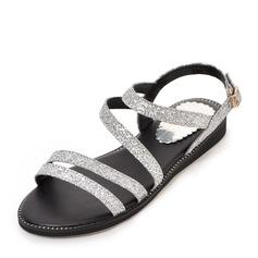 Женщины Мерцающая отделка Плоский каблук Сандалии На плокой подошве Открытый мыс Босоножки с пряжка обувь (087155463)