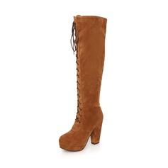 Замша Устойчивый каблук Сапоги выше колен с Застежка-молния обувь (088036915)