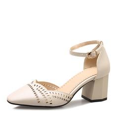 Женщины кожа Устойчивый каблук Сандалии На каблуках Закрытый мыс Mary Jane с пряжка обувь (085167118)
