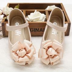 Jentas Lukket Tå Leather flat Heel Flate sko Flower Girl Shoes med Velcro Blomst (207102006)