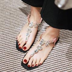 Mulheres Couro Sem salto Sem salto Sandálias Beach Wedding Shoes com Strass (047125416)