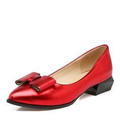 Женщины PU Плоский каблук На плокой подошве Закрытый мыс с бантом обувь (086141412)